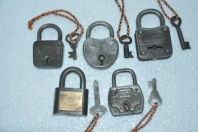 5 Pc Old Iron Handcrafted Unique Shape Solid German Padlocks
