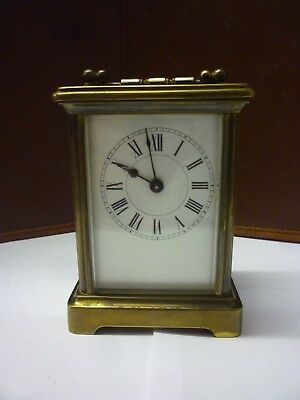 Antique Brass 8 Day Carriage Clock In Good Working Order (10)