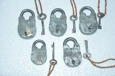 5 Pc Old Iron Handcrafted Fine Quality Iron Padlocks , Rich Patina