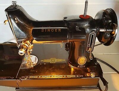 Vintage Singer Sewing Machine Model 221K in Case with Accessories