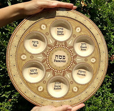 Large Bamboo PASSOVER PLATE Seder Pesach Tray kosher food Jewish Holiday Gift