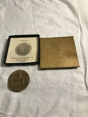 1933 Worlds Fair Administration Medal In Original Box Excellent Condition