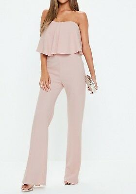 0d13391f38 MISSGUIDED Pink Double Layer Wide Leg Jumpsuit UK 12 US 8 EU 40 (camg141)