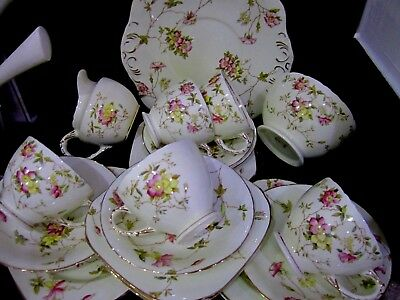 Vintage,beautiful Sutherland China,full 21 Piece Tea Set,lovely Condition