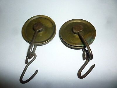 Pair Of Original 18th Century 8 Day Grandfather Clock Weight Pulleys (8D)
