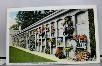 Louisiana LA New Orleans All Saints Day St Louis Cemetery Vaults Postcard Old PC