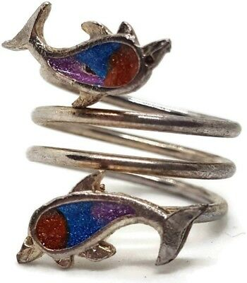 Estate Triple Coil Two Enameled Dolphin Costume Ring - Silver-Color Size 6