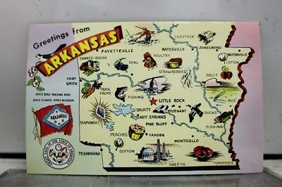 Arkansas AR Map Greetings Postcard Old Vintage Card View Standard Souvenir Post