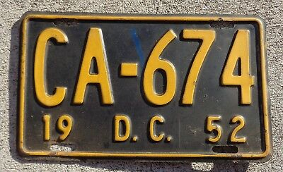 District of Columbia 1952  license plate #  CA - 674