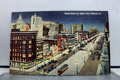 Louisiana LA New Orleans Canal Street Night Postcard Old Vintage Card View Post