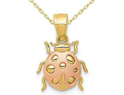 14K Yellow and Rose Pink Gold Ladybug Pendant Necklace with Chain