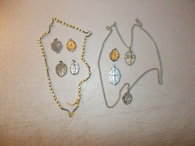 Vintage Lot Of 6 Charms And 2 Rosery All Miraculous Medal Pieces