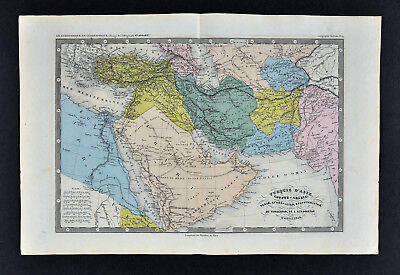 c 1860 Ansart Map - Middle East Turkey Iraq Persia Iran Afghanistan Arabia Mecca