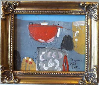 """Small Charming Cornish School Abstract Study Titled """"penzance Red Boat"""""""