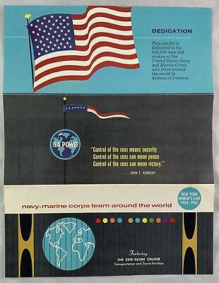 Original 1964-1965 New York World Fair Brochure Navy Marine Cine Globe Cruiser