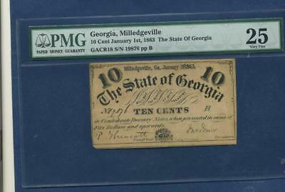 1863 Milledgeville GA The State of Georgia 10 Cent,Confederate Currency PMG VF25