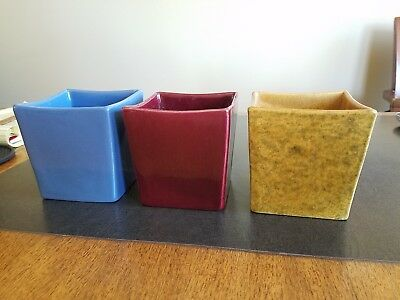 Set of 3 colorful Haeger 3716 cube shaped planters mid century modern flowerpot