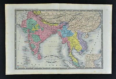 1862 Ansart Map - India Pakistan Nepal Tibet China Burma Thailand Vietnam Siam