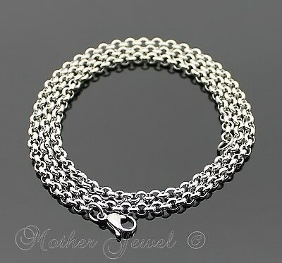 """50Cm Silver 316L Stainless Steel 4Mm Thick Rolo Chain Mens Womens Necklace 22"""""""