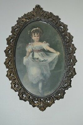 """1 Only 8"""" Vintage Italy Ornate Brass Metal Wall Frame W or W/O Victorian Picture"""