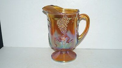 Beautiful Vintage Collectible Glass Carnival Grape Design Pitcher