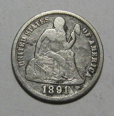 1891 S Seated Liberty Dime - Fine Condition / Cleaned - 243SA