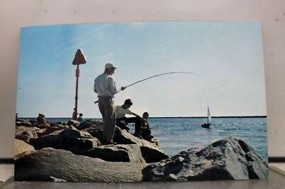 Rhode Island RI Fishing off Rocks Galilee Postcard Old Vintage Card View Post PC