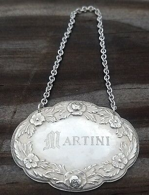 Estate Sterling S. Kirk & Son Repousse Decanter Label Martini-Free Usa Ship-#4