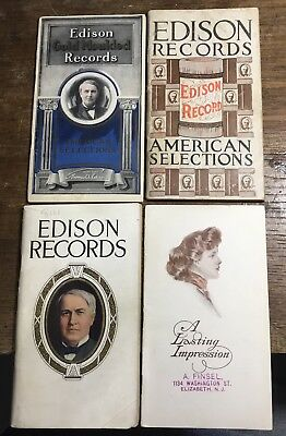 (4) Early 1900's Edison Phonograph & Cylinder Record Catalogs