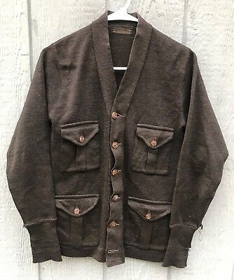 Antique Vtg 1910's 1920's J.C. PENNEY Co Wool Cardigan Shirt Jacket Small