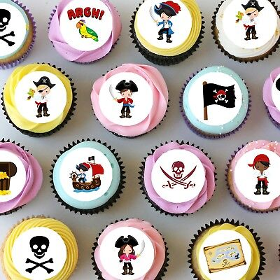 Pirate Mini Edible Icing Cupcake Toppers - PRE-CUT - Sheet of 30 or 48