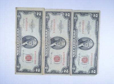 Lot (3) Red Seal $2.00 US 1953 or 1963 Notes - Currency Collection *107