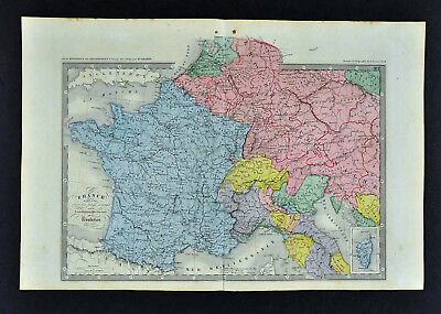c 1860 Ansart Map  France 1789 French Revolution Italy Germany Netherlands Paris