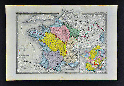 c 1860 Ansart Map - France Physical Geology River Basins Mountains Alps Seine