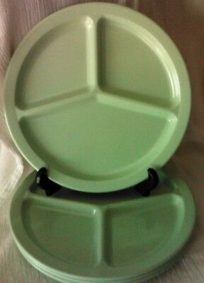 Four Vintage Dallas Texas Ware Divided Green Grill Plates Camping Picnic Patio