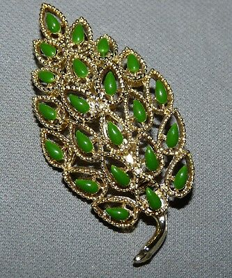 Goldtone Brooch  Pin Green Leaf Desin Vintage Jade? Signed
