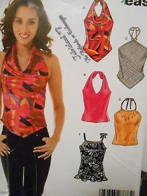 New Look Easy Halter Type Tops In 5 Styles Pattern 6464 Size 8 10 12 14 16 18