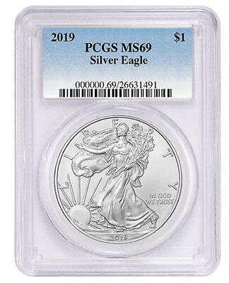 2019 1oz Silver Eagle PCGS MS69 Blue Label