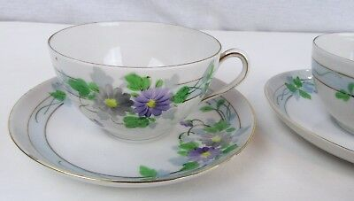 Antique UNUSUAL BEAUTIFUL Hand Painted Nippon Porcelain Tea Cups & Saucers Set 4