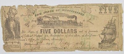 1862 $5.00 State of Mississippi Treasury Note *0607