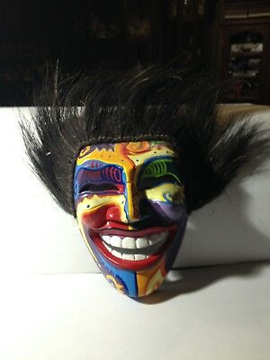 Tribal Mask Wooden Handmade Painted Carved With Hair Colorful Vintage