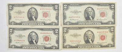 Lot (4) Red Seal $2.00 US 1953 or 1963 Notes - Currency Collection *487