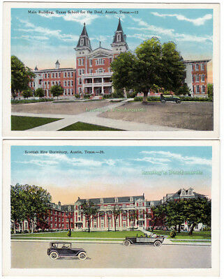 2 - AUSTIN Texas - c1930 POSTCARDS School for the Deaf SCOTTISH RITE DORMITORY