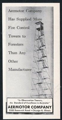 1959 fire ranger lookout tower photo Aermotor vintage trade print ad