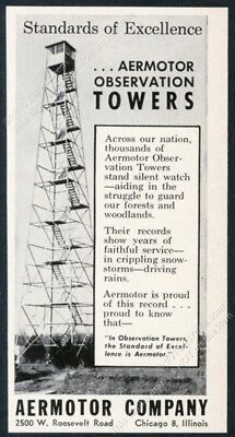 1957 fire ranger lookout tower photo Aermotor vintage trade print ad
