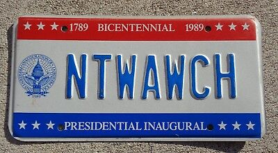 District of Columbia 1989 Inaugural license plate  #  NTWAWCH