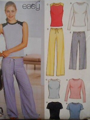 New Look Easy Casual Knit Tops & Pants Pattern 6160 Size 8 10 12 14 16 18 Uncut