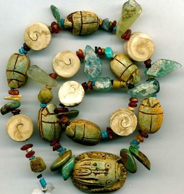 "Vintage Egyptian Scarab Beads Naga Spiral Shell Beads Turquoise ~17"" Strd Glyphs"