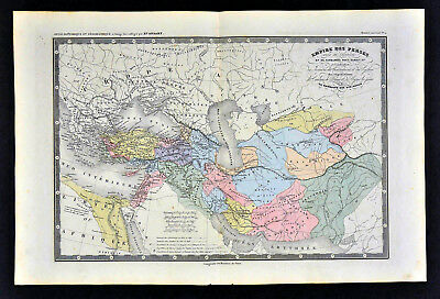 c 1860 Ansart Map - Ancient Persian Empire Darius I Iran Iraq Turkey Middle East
