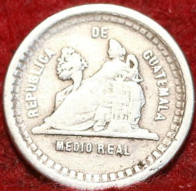 1889 Guatemala 1/2 Real Silver Foreign Coin